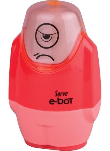 Serve E-Bot Silgili Kalemtıraş Fosforlu Kırmızı Renkli